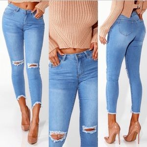 ♡ Boutique Frayed Distressed Ankle Jeans